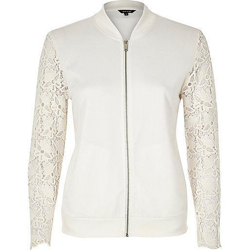 White lace sleeve jersey bomber jacket