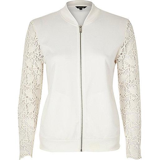 Blouson en jersey blanc à manches en dentelle
