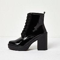 Black patent chunky platform heel boots