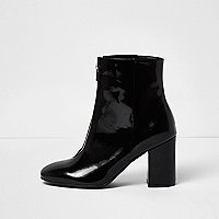 Black patent zip front boots