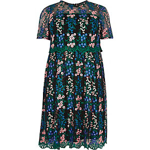 RI Plus floral mesh skater dress