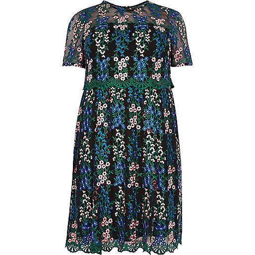 Plus floral mesh skater dress