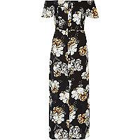 Schwarzes Bardot-Maxikleid mit Blumenmuster