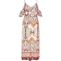 Cream print cold shoulder frilly maxi dress