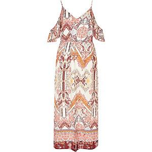 Cream print cold shoulder frill maxi dress