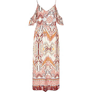Cream print cold shoulder frilly maxi dress