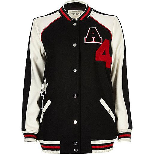 Black badge varsity bomber jacket
