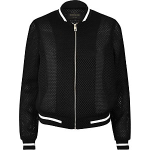 Black mesh bomber jacket