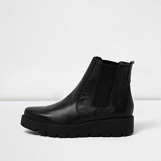 Schwarze Chelsea-Stiefel aus Leder mit Plateausohle