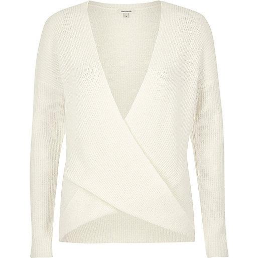 Pullover mit Wickeldesign, in Creme