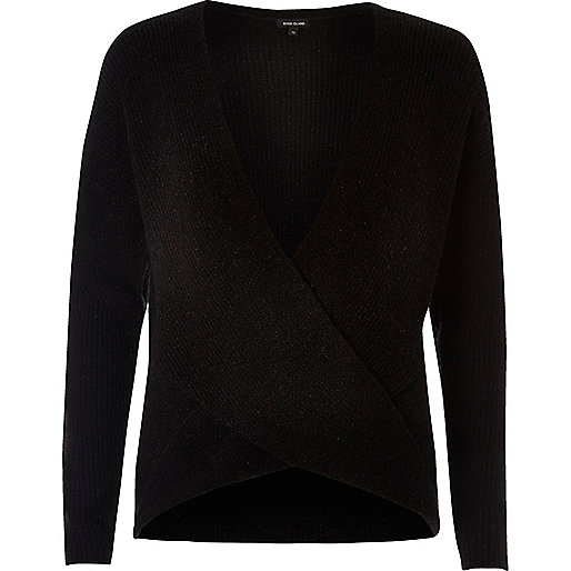 Black Winsdor wrap sweater
