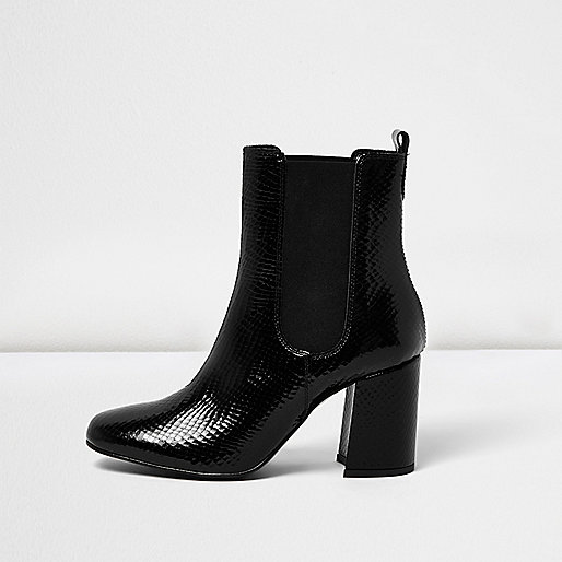 Black croc leather heeled Chelsea boots