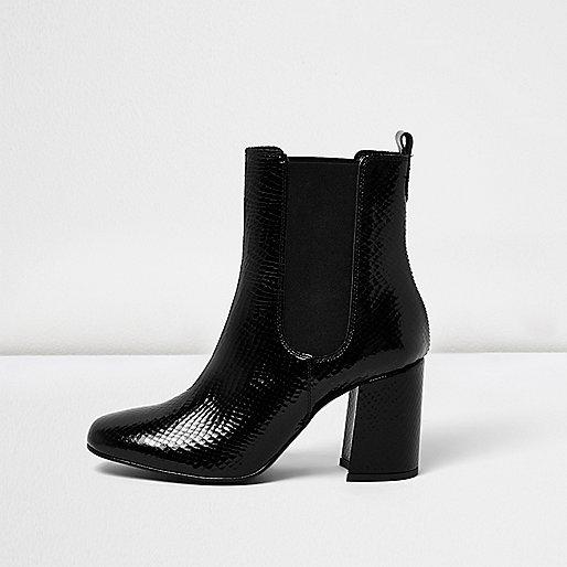 Schwarze Chelsea-Stiefel mit Absätzen in Krokolederoptik