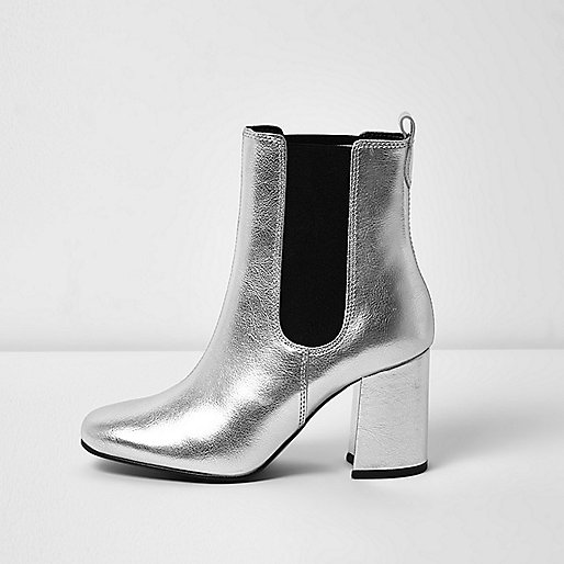 Silver leather block heel ankle boots