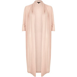 Light pink knit longline cardigan