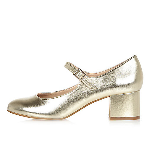 Gold heel Mary Jane shoes