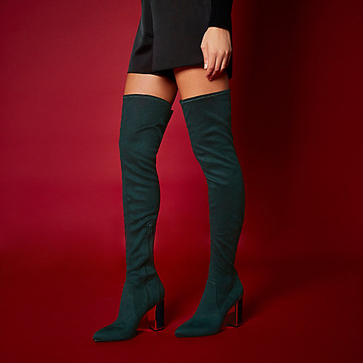 RI Studio dark green over the knee boots