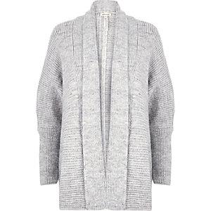 Grey knit cocoon cardigan