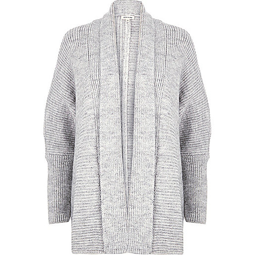 Grey knit cocoon cardigan