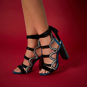 RI Studio black caged block heels
