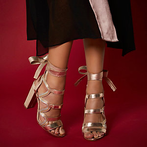 RI Studio rose gold leather caged heels