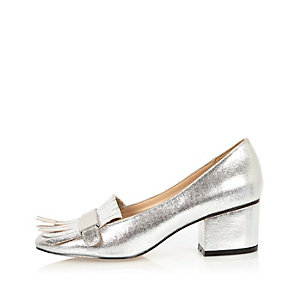 Silver tassel heeled loafers