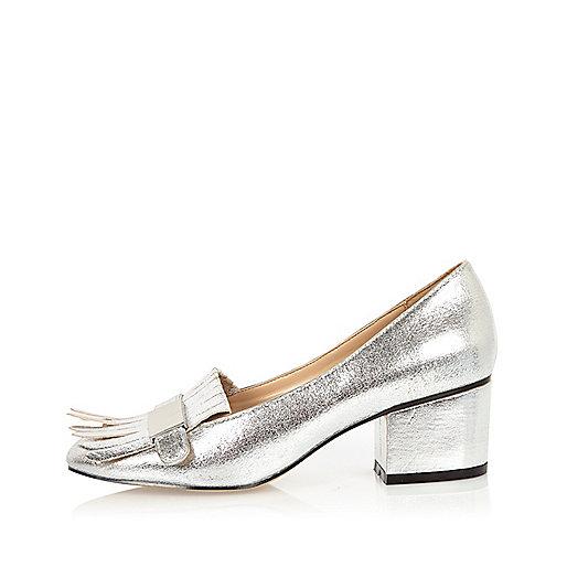 Silver tassel heeled loafers