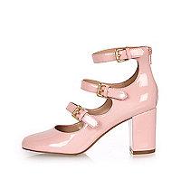 Pink patent multi strap block heel shoes