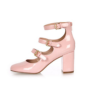 Pink patent multi strap block heel shoes
