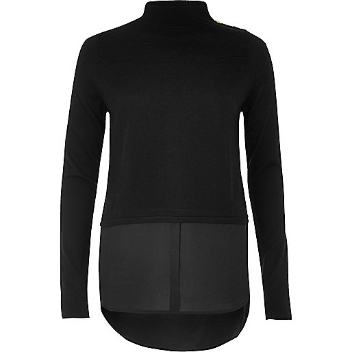 Pull noir hybride style militaire
