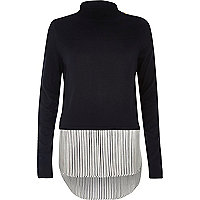 Navy stripe turtleneck layered sweater