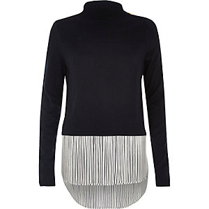 Navy stripe turtleneck layered jumper