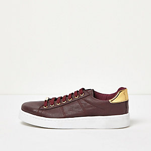 Dark red metallic trim platform trainers