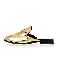 Gold leather backless loafers