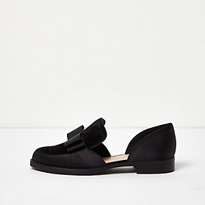 Black satin panel cut-out loafers