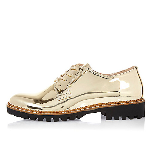 Gold patent chunky brogues