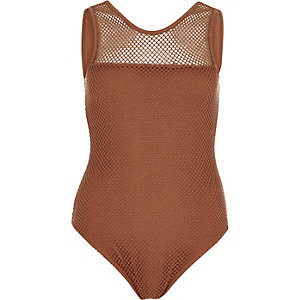 Brown mesh bodysuit