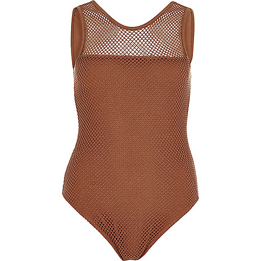 Brown mesh bodysuit