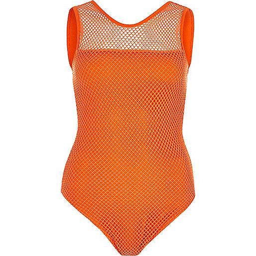 Orange mesh bodysuit