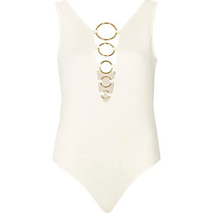Cream plunge ring bodysuit