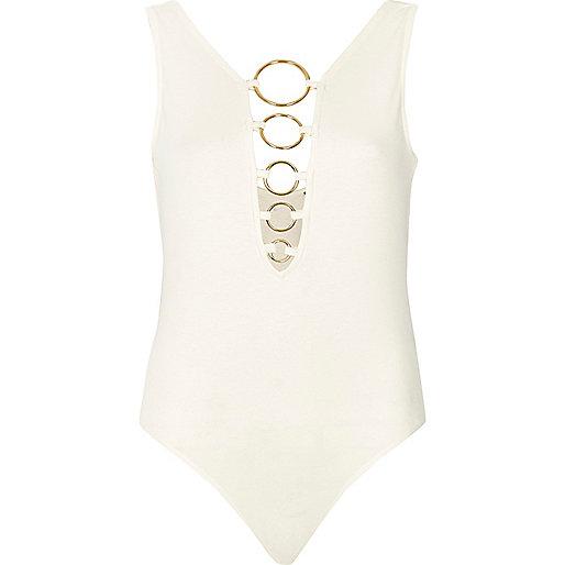 Cream plunge ring bodysuit