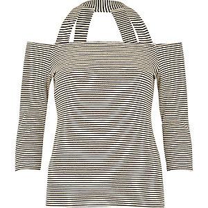 Black stripe strappy bardot top