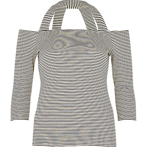 Black stripe strappy bardot top