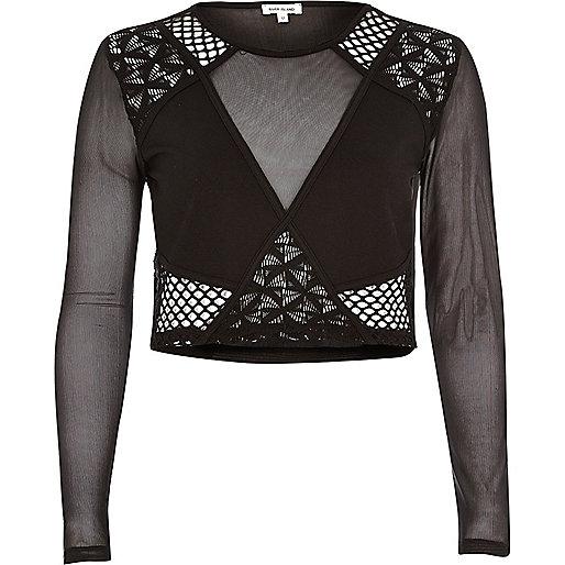 Black mesh lace crop top