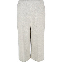 Plus light grey knit cropped trousers