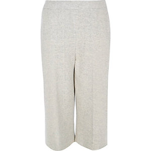 RI Plus light grey knit cropped pants
