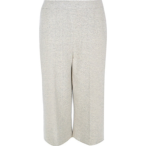 Plus light grey knit cropped pants