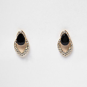 Gold tone glam gem encrusted teardrop earring