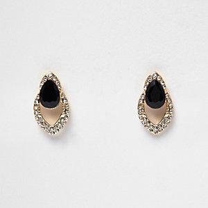 Gold tone glam gem encrusted teardrop earring