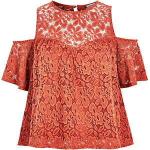 Rust lace cold shoulder top